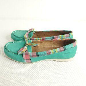 Women's Sebago Felucco Bow Boat Shoes Teal Blue